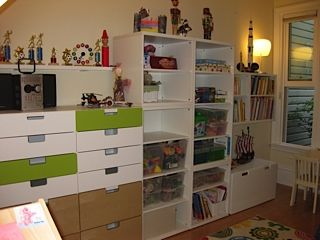 The added cabinets can be used for clothes as they age out of some of the toys