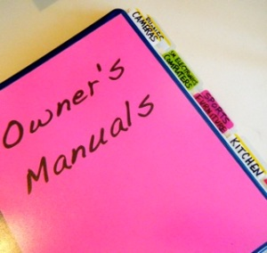 Organize your manuals with a binder.