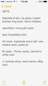 iPhone Gift List note